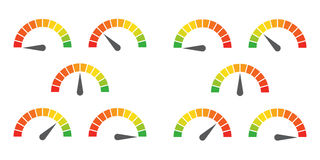 Meter signs infographic gauge element. From red to green and green to red vector illustration Stock Photos