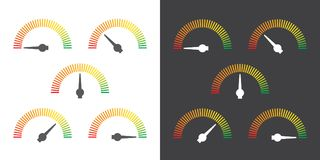 Meter signs infographic gauge element from red to green Royalty Free Stock Image