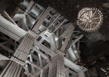 109 meter underjordisk Michalowice kammare i den salta minen i W Arkivfoton
