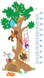 Meter wall with big tree and funny animals. Meter wall or height meter with big tree and funny rabbit, piglet, owl and bear with balloon vector illustration