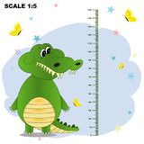 Meter wall with cartoon ccrocodile royalty free illustration