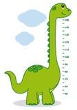 Meter wall dinosaur. Funny green dinosaur vector illustration