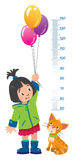 Meter wall or height chart with girl and kitten Stock Photography