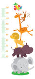 Meter wall or height meter with funny animals. Meter wall or height meter from 50 to 120 centimeter with giraffe and monkey, parrot and lion, hippo and elephant royalty free illustration