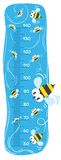 Meter wall or height meter with funny bees. On sky blue background with a scale to measure stock illustration