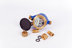 Meter of water. New water meter whit fittings, used in Italy royalty free stock photo