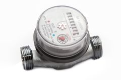 Meter water close-up isolated on white. Background royalty free stock image