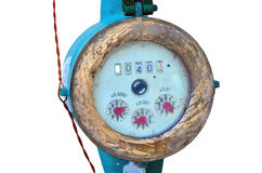 Meter of the water. And metal pipes on white background stock photo
