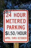 Metered Parking Sign. 24 hour metered parking sign Royalty Free Stock Images