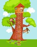 Metermuur met boomhuis Illustratie vector illustratie