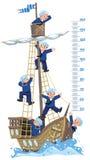 Metermuur met schip en gelukkige zeelieden Royalty-vrije Stock Fotografie