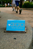 300 meters blauw lopend teken Royalty-vrije Stock Foto