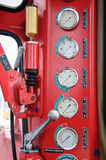 Meters or gauge in crane cabin for measure Maximun load, Engine speed , Hydraulic pressure , Temperature and fuel level Royalty Free Stock Photos