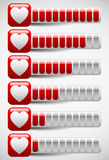 Meters with Heart Shapes. Love Meter, Health Points in Computer. Eps 10 Vector Illustration of Meters with Heart Shapes. Love Meter, Health Points in Computer vector illustration