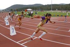 400 meters race startup Stock Image