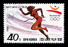 200 meters run, Summer Olympics Barcelona (II) serie, circa 1992. MOSCOW, RUSSIA - MARCH 18, 2018: A stamp printed in Democratic People's Republic of Korea shows Stock Photo