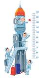 Metervägg med raket och pojke-astronaut Fotografering för Bildbyråer