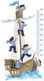 Meterwand mit Schiff und glücklichen Seeleuten Stockfoto