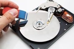Metáfora del borrado de los datos de la unidad de disco duro Fotografía de archivo