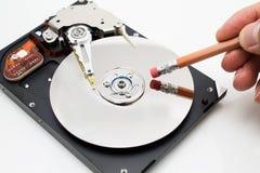 Metáfora do erase dos dados da movimentação de disco rígido Fotografia de Stock