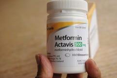 METFORMIN ACTAVIS MEDICEINE VOOR DIABETESziekte royalty-vrije stock foto's