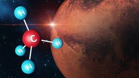 Methan-Molekül mit Mars-Hintergrund Lizenzfreies Stockbild