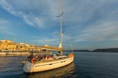 Sailors participate in sailing regatta 20th Ellada Autumn 2018 among Greek island group in the Aegean Sea royalty free stock photo