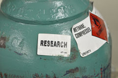 Methane. Gas cylinder for research Royalty Free Stock Photography