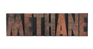 Methane in letterpress wood type Royalty Free Stock Photos