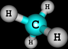 Methane molecule on black Stock Photography