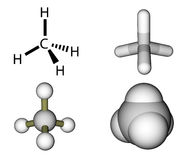 Methane structural formula and molecular models. Isolated on a white background Royalty Free Stock Image