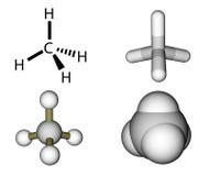 Methane structural formula and molecular models stock illustration
