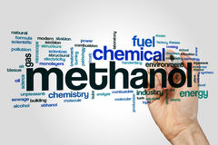 Methanol word cloud. Concept on grey background royalty free stock image