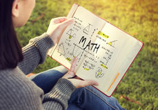 Methematics Math Algebra Calculus Numbers Concept. Woman studying mathematics math algebra calculus numbers outdoor stock photos