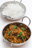 Methi chicken and rice in kadai bowls vertical Stock Photo