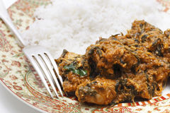 Methi chicken and rice meal Stock Photos