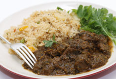 Methi lamb meal closeup Royalty Free Stock Photo