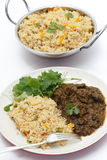 Methi lamb meal with tomato rice Stock Photography