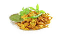 Methi  pakoda or fritter indian food snack in pure white background Royalty Free Stock Photography