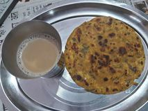 methi paratha with tea royalty free stock images