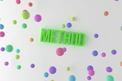 Method, business conceptual colorful 3D rendered words. Communication, caption, positive & illustration. Method, business conceptual colorful 3D rendered words stock illustration