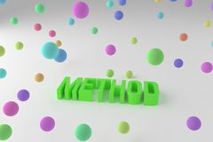 Method, business conceptual colorful 3D rendered words. Title, web, creativity & digital. Method, business conceptual colorful 3D rendered words. Decorative vector illustration