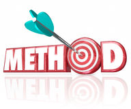Method 3d Word Arrow in Target Bulls-Eye Stock Image