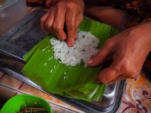 Khao-nieo-ping Grilled stuffed Glutinous rice wrapped in banana leaves Royalty Free Stock Photos