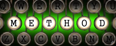 Method on Old Typewriter's Keys. Royalty Free Stock Image