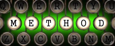 Methode auf den Schlüsseln der alten Schreibmaschine. Lizenzfreies Stockbild