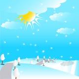 Methode in der schneebedeckten Hügelabbildung Stockfoto
