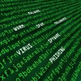 Methoden des Cyberangriffs im Computercode Stockbilder