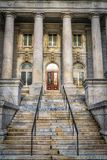 Generic Building Entrance to Methodist Church. Methodist church entrance with stairway up to the front door and pillars. Historical architecture in Washington DC stock image