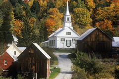 Methodist Church in Waits River, VT in autumn Royalty Free Stock Photography